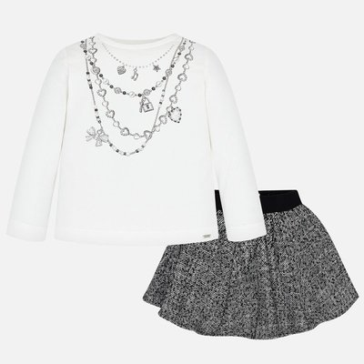 MAYORAL T-shirt and polka dot skirt set for girl