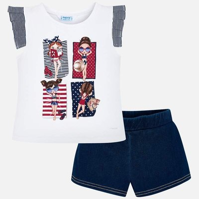 MAYORAL T-shirt with collar detailing and patterned shorts