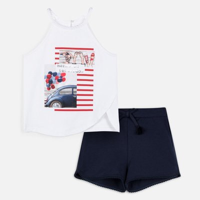 MAYORAL T-shirt with car design and plain shorts set