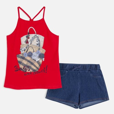 MAYORAL Sandals print t-shirt and shorts set