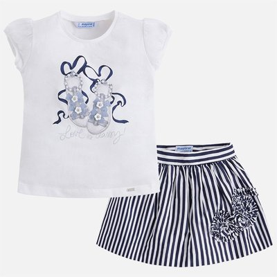MAYORAL Set of skirt and pleated sleeve T-shirt for girl