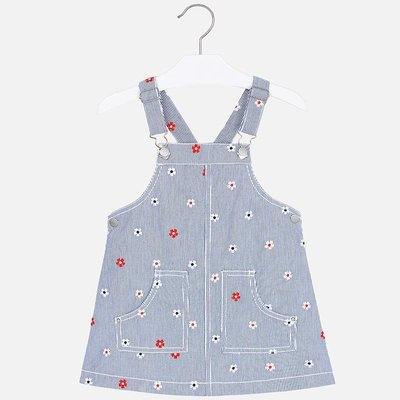 MAYORAL Denim dungaree skirt with embroidery for girl