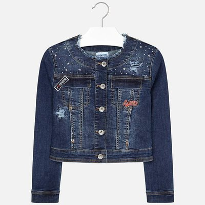 MAYORAL Denim applique jacket for girl