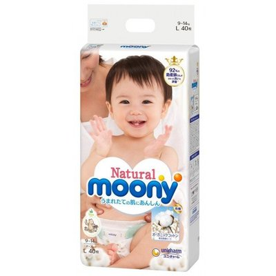 Moony L Natural Diapers 9-14 kg (40 pcs.)