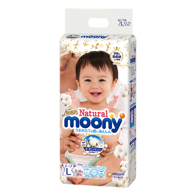 Moony L Natural Diapers 9-14 kg (38 pcs.)